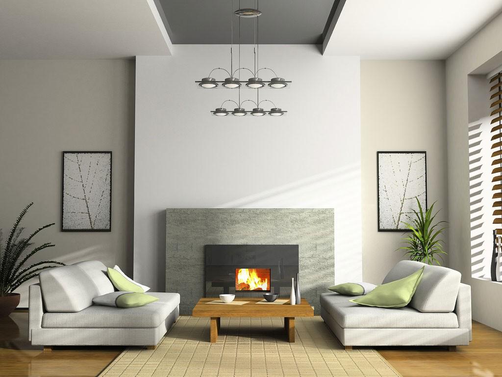 Simple Living Room Design Indoor Plants Modern Fireplace